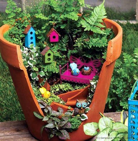 creative landscaping with broken plant pots interior