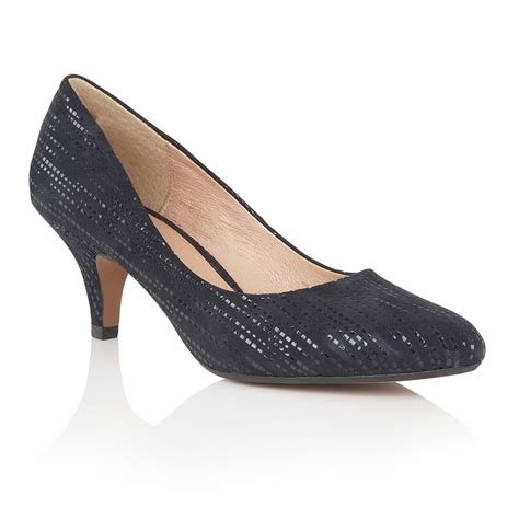 Lotus Dandelion Navy Print Leather Court Shoes Shoes