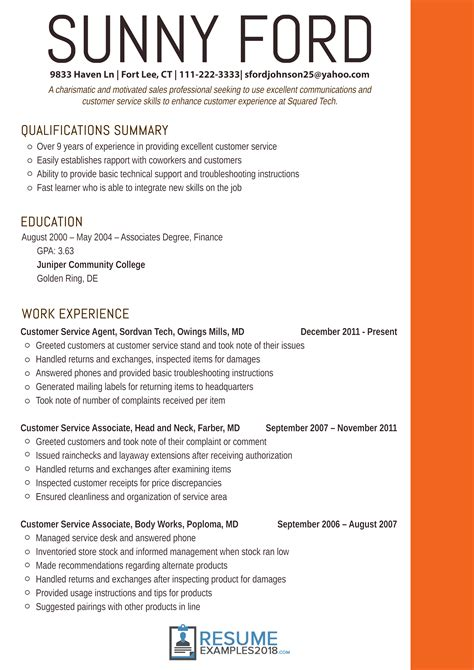 resume examples  customer service customer examples