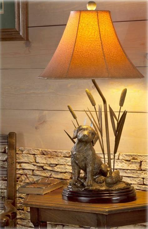 Labrador Dog Decoy Duck & Cattail Table Lamp Hunting Lab