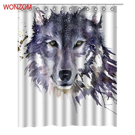 Wolf Bathroom Accessories by Wonzom Wolf Shower Curtains With 12 Hooks For Bathroom