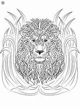 Coloring Adult Lion Sculpture Animals Tiger sketch template