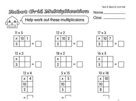 grid method worksheets year 4 grid multiplication a year 4 multiplication worksheet
