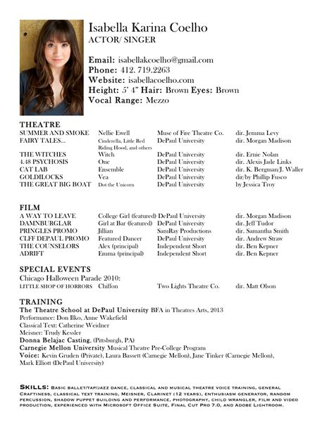 theatre resumes acting resume search results calendar 2015