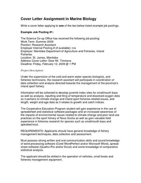 fisheries biologist cover letter cover letter biology student granitestateartsmarket