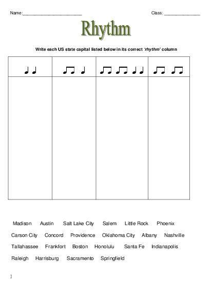 theory rhythm worksheets elementary