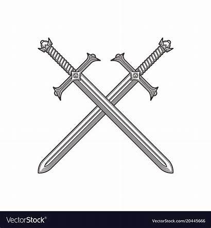 Swords Crossed Vector Line Ancient Illustration Royalty