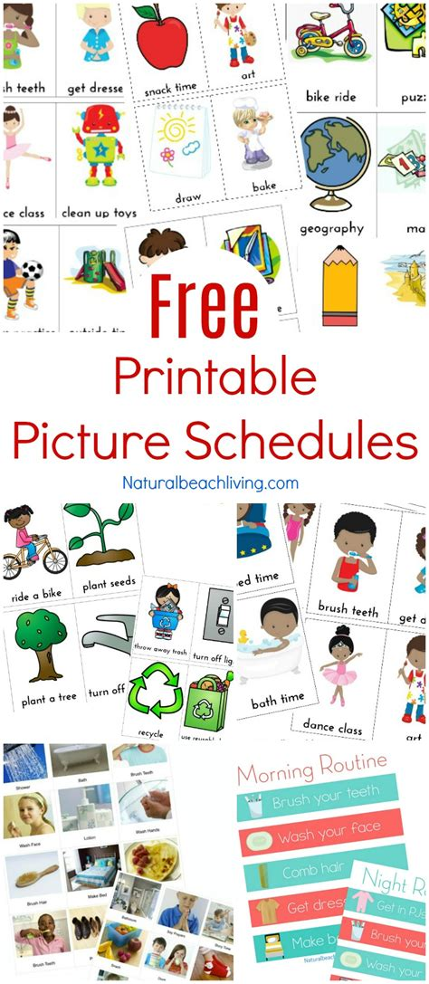 visual schedule free printable picture schedule cards visual schedule printables living