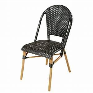 Chaise De Jardin En Resine : chaise de jardin en r sine tress e noire h88 kafe pro ~ Farleysfitness.com Idées de Décoration