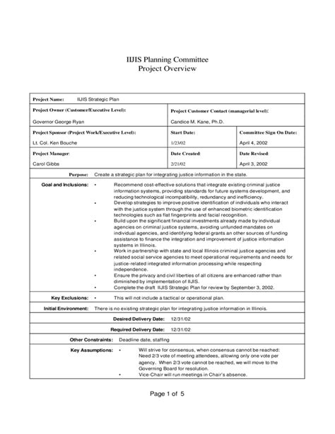 standard project overview template