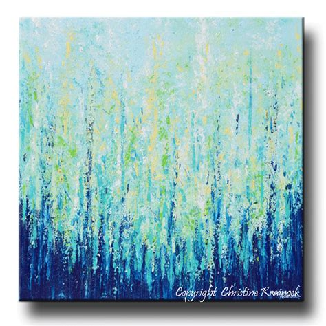 giclee print abstract painting indigo blue aqua white