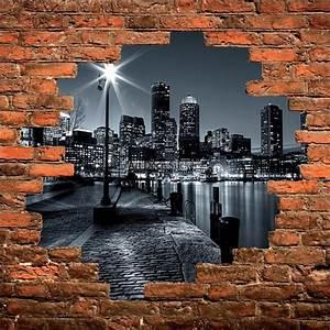 Mur Trompe L Oeil : sticker mural trompe l il mur de pierre new york noir et blanc stickers muraux deco ~ Melissatoandfro.com Idées de Décoration
