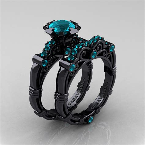 art masters caravaggio 14k black gold 1 0 ct blue zircon engagement ring wedding band r623s