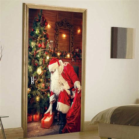 3d christmas door decoration 2019 tree santa pattern door cover stickers rosegal