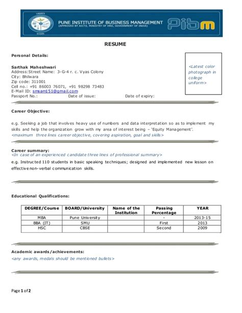 Infosys Freshers Resume by Infosys Resume Format Resume Format