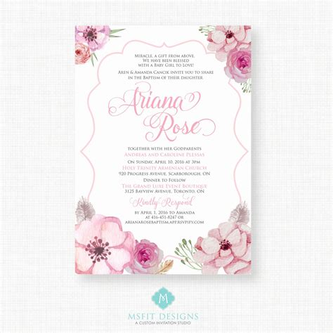 Baby Dedication Invitation Template Awesome Printable