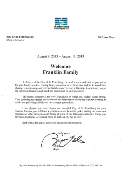 family reunion welcome letter mayoral welcome the franklin family reunion