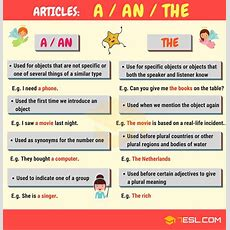 Articles In Grammar Useful Rules, List & Examples  7 E S L