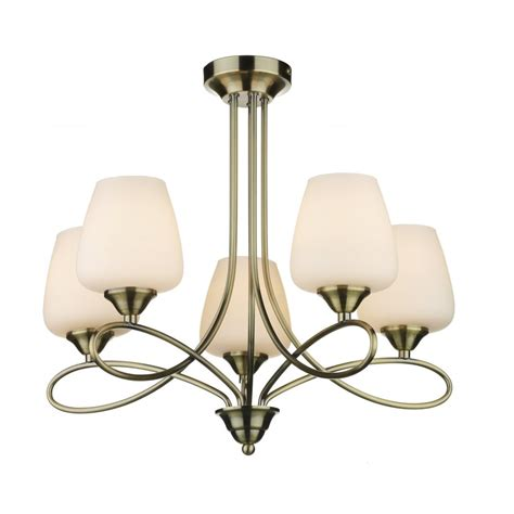 5 light antque brass ceiling light with opal glass shades