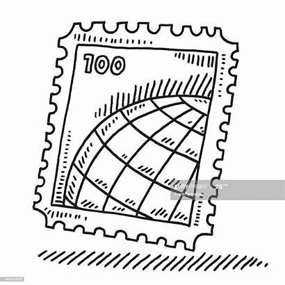 Stamp Drawing Postage Postal Globe Desenho Briefmarke