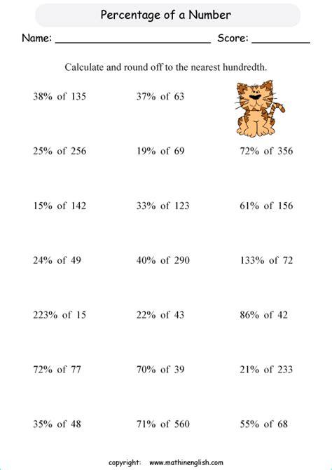 numbers percentage printable grade  math worksheet