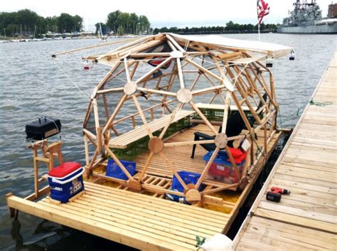 Cheap Boats Upstate Ny by Builds Geodesic Bucky Houseboat For Around 2 000