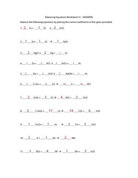 printables of balancing equations worksheet year 11