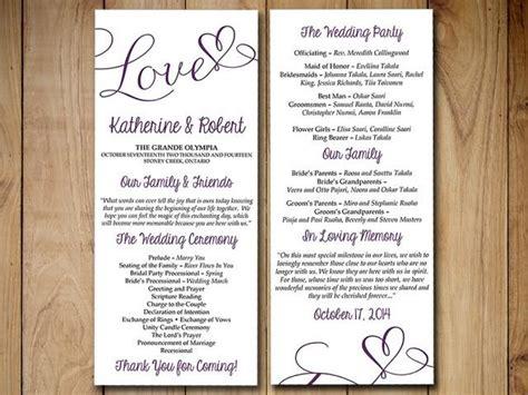 diy wedding program template eggplant purple love