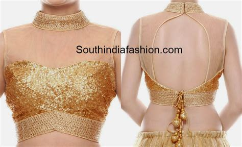 high neck blouse high neck gold sequins blouse south india fashion