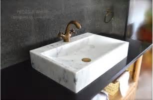 24 quot white marble bathroom vessel sink faucet pegasus white