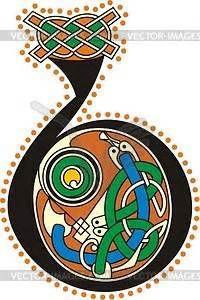 celtic initial letter  vector clip art