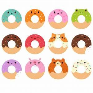 Kawaii Donuts Clipart / Cute Donut Clipart / Doughnuts Clip