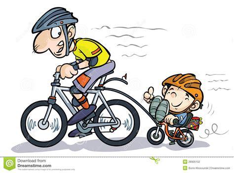 karikatur vater und sohn radfahrer stock abbildung