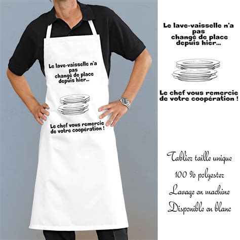 tablier de cuisine uni tablier cuisine lave vaisselle avec message rigolo en