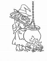 Coloring Cauldron Witch Template sketch template