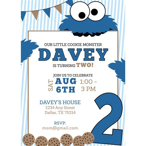 Cookie Invitation Template by Cookie Birthday Invitation Kateogroup