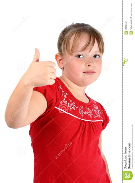 Small Girl Showing Thumbs Up Gesture Isolated Stock Photo Image Of Room Success