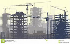 Illustration Of Construction Site With Cranes And Building ...