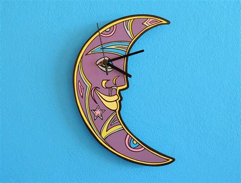 Crescent Moon Face Wall Clock