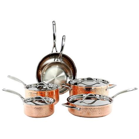 oneida  pc tri ply hammered copper cookware set