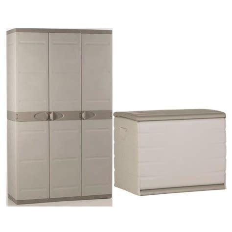 bureau coffre 3 en 1 plastiken coffre en résine 260l vide et armoire de