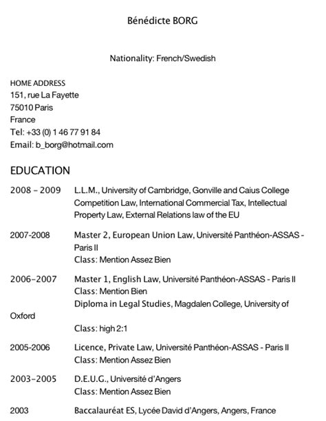 Formulaire Cv En Francais by Exemple De Cv Pour Un Emploi Formulaire De Cv En Francais