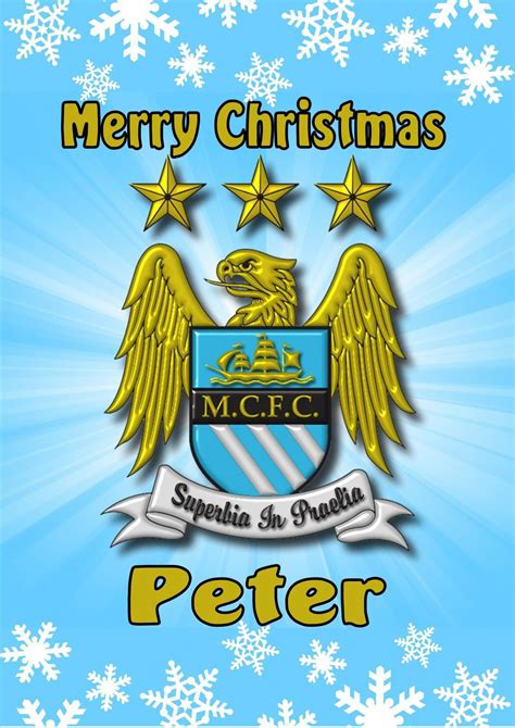 personalised manchester city christmas card