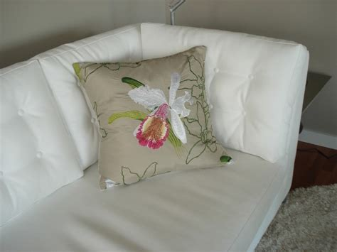 white sofa with colorful pillows white leather sofa with custom orchid cushion modern