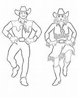 Coloring Pages Dance Country Dancers Dancing Cowgirl Square Western Printables sketch template