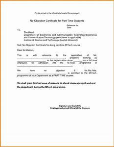 No Objection Letter Format For Employer The Letter Sample