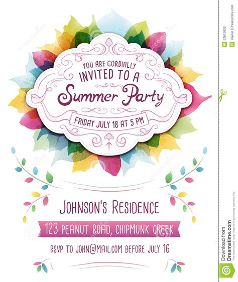 summer party invitation stock vector image