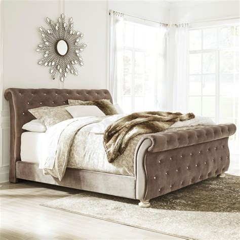 King Upholstery by King Upholstered Sleigh Bed With Faux Tufting By