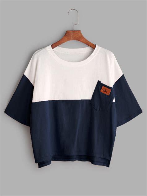 color block t shirt color block dip hem t shirt with chest pocket romwe
