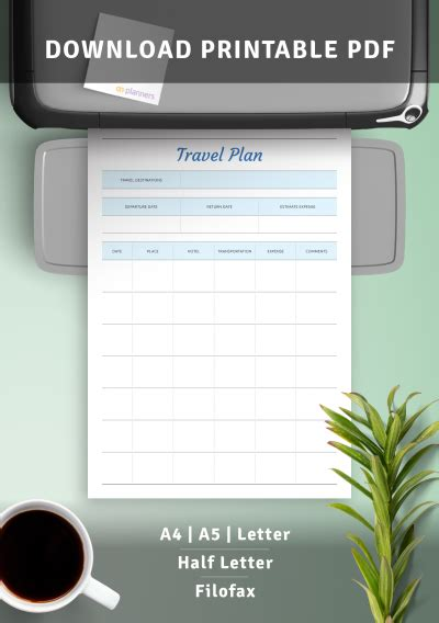 printable travel plan template